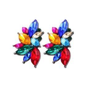 Rhinestone Flower Studs Earrings